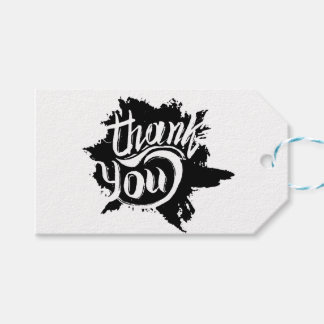 Thank You Black & White Paint Splat Gift Wedding Gift Tags
