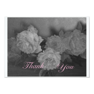 """Thank you black & white roses illustrated greeting 5"""" x 7"""" invitation card"""