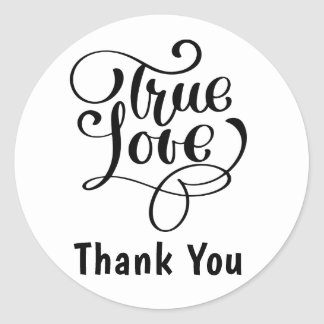 Thank You Black & White True Love Hearts Wedding Classic Round Sticker