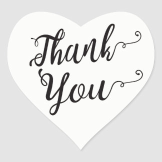 Thank You Black & White Wedding Party Typography Heart Sticker