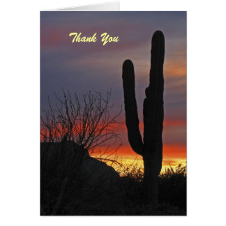Thank You, Blank Inside, Saguaro Cactus at Sunset Greeting Card