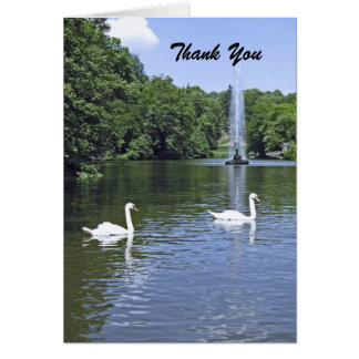 Thank You, Blank Inside, Swans and Fountain Card