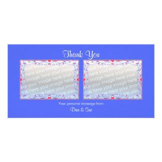 Thank You Blue 2 Photos Photo Card Template