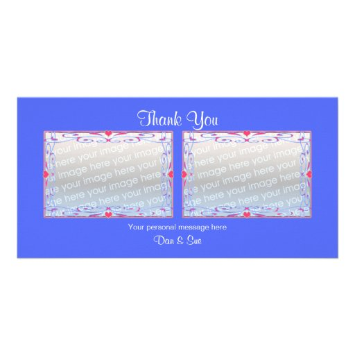 Thank You Blue 2 Photos Photo Greeting Card