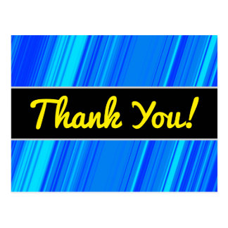 """Thank You!"" + Blue and Cyan Lines Pattern Postcard"