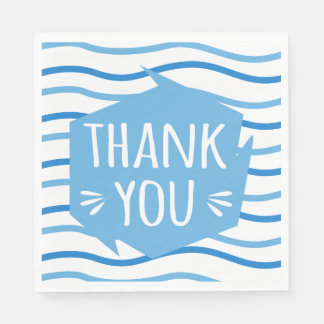 Thank You Blue And White Stripes Wedding Party Disposable Serviettes