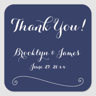 Thank You Blue And White Wedding Stickers