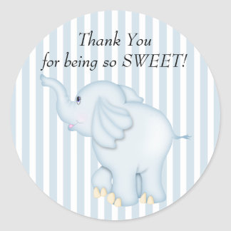 Thank You Blue Elephant Baby Shower Round Sticker