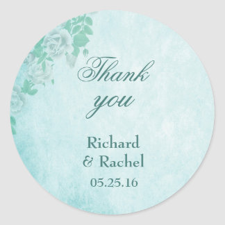 Thank you blue floral wedding classic round sticker