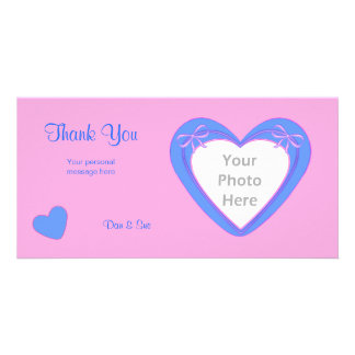 Thank You - Blue Hearts on Pink Photo Cards