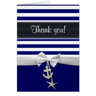 Thank You Blue Nautical stripe & faux white ribbon Card