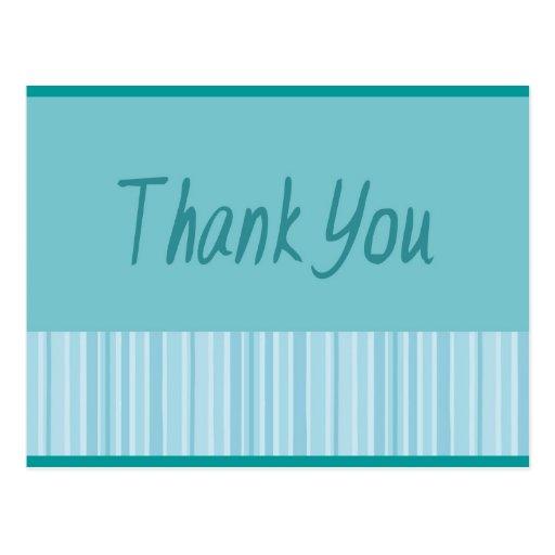 Thank You Blue Stripe Postcards