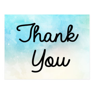 Thank You Blue, Turquoise And Purple Watercolor Postcard
