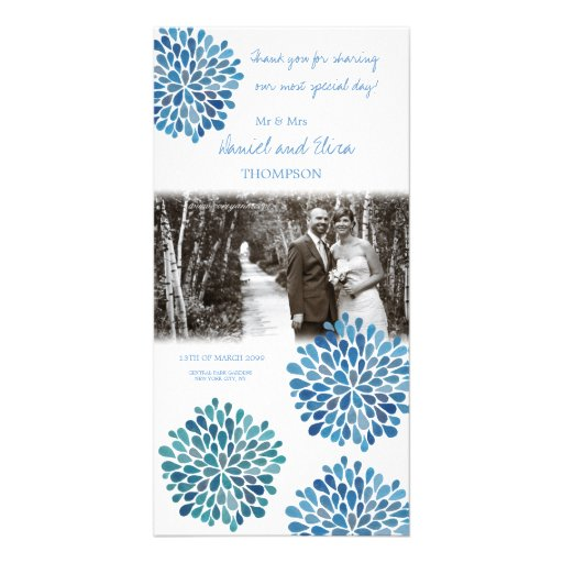 Thank You Blue Watercolor Dahlias Wedding Personalized Photo Card