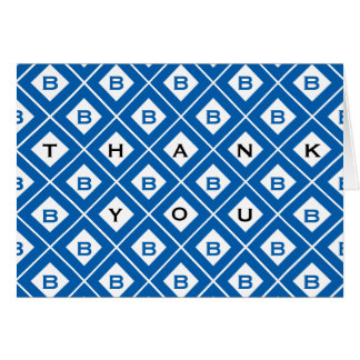 """Thank You"" Blue/White Geometric Blocks Card"