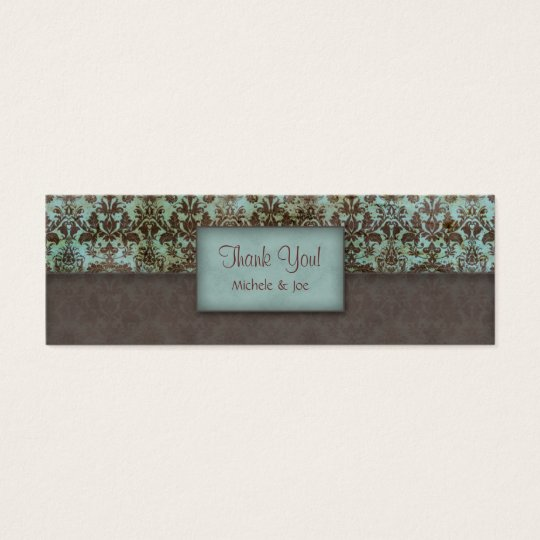 Thank You Bookmark Damask Blue Brown Mini Business Card