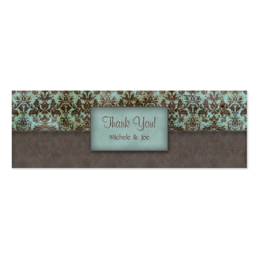 Thank You Bookmark Damask Blue Brown Pack Of Skinny Business Cards