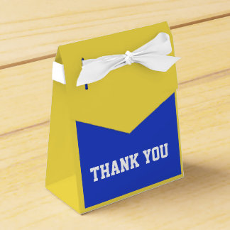 thank you  box with bow in blue and yellow