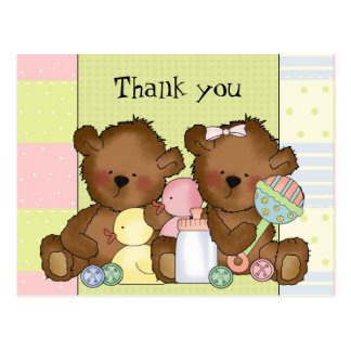 Thank you boy girl twin bears postcard
