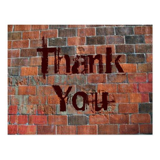 Thank You brick wall Postcards