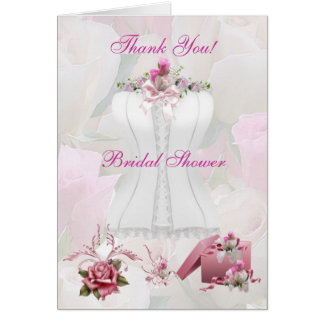 Thank You Bridal Shower Floral White Pink Corset Card
