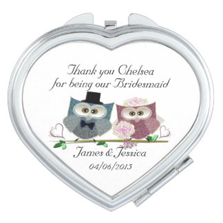Thank you Bridesmaid Heart Compact Mirror