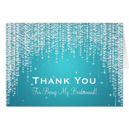 Thank You Bridesmaid Night Dazzle Blue Card