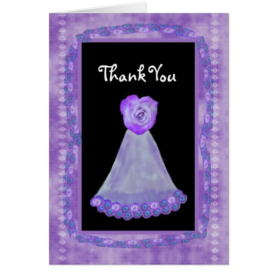 THANK YOU Bridesmaid PURPLE Gown and Heart Rose Card