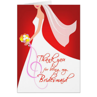 Thank you Bridesmaid - Ruby Red Note Card