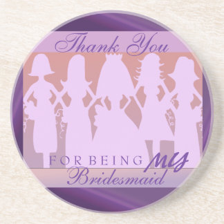 Thank you bridesmaid sandstone coaster