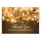 Thank You Bridesmaid Sparkling Lights Gold Card