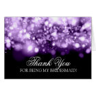 Thank You Bridesmaid Sparkling Lights Purple Card