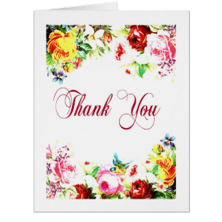 Thank You Bright Floral Decorative Art Card