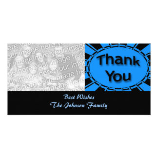 Thank You bright turquoise blue black Photo Card Template