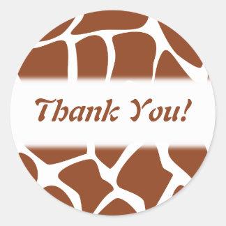 Thank You. Brown and White Giraffe Pattern. Round Sticker