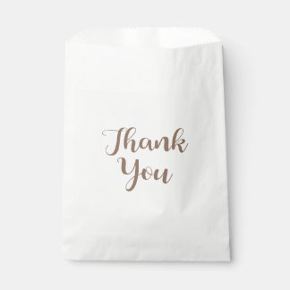 Thank You Brown And White Wedding Party Typography Favour Bag