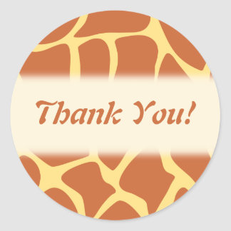 Thank You. Brown and Yellow Giraffe Pattern. Round Sticker