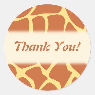 Thank You. Brown and Yellow Giraffe Pattern. Round Sticker