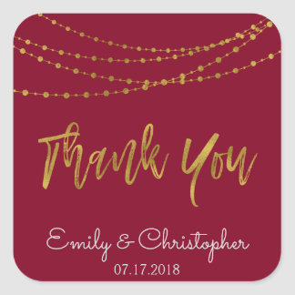 Thank You Burgundy and Gold Foil String Lights Square Sticker
