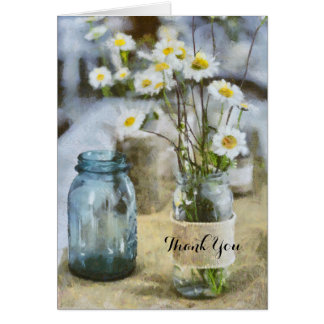 Thank You Burlap Daisy Wild Flowers in Glass Jars Card