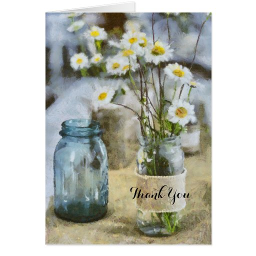 Thank You Burlap Daisy Wild Flowers in Glass Jars Cards