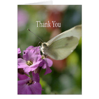 Thank You - Butterfly on Flowers Card