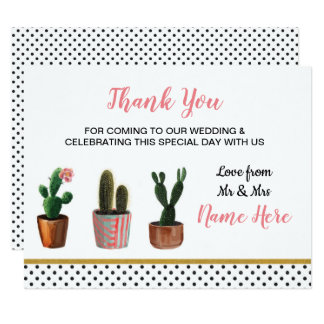 Thank You Cactus Cacti Wedding Card Polka Dot Cute