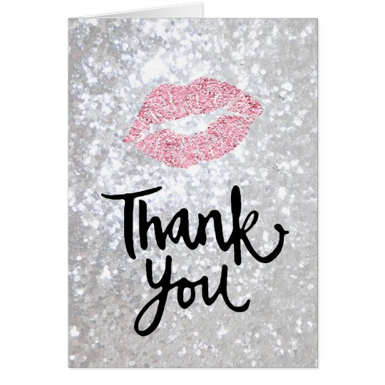 thank you calligraphy on faux silver glitter card