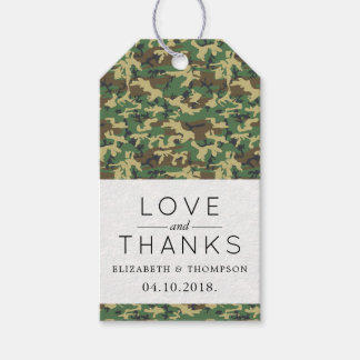 Thank You - Camouflage Pattern - Brown Yellow Gift Tags