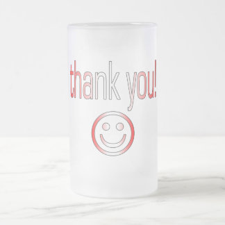 Thank You! Canada Flag Colors Frosted Glass Mug