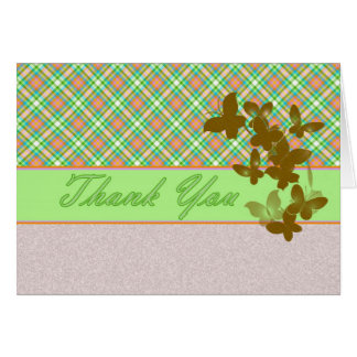 Thank you card blank green pink plaid