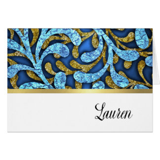 Thank You Card Blue and Gold Layered Look