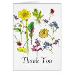 Thank You Card Botanical Art Vegetable Flowers