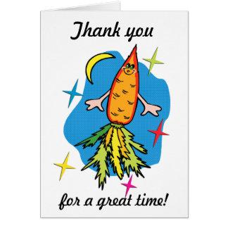 Thank you card: Carrot Rocket Ship Card